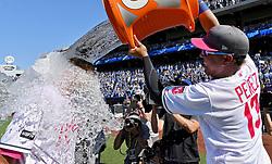 May 14, 2017 - Kansas City, MO, USA - Kansas City Royals' Drew Butera gets the Salvador Perez splash after the team's 9-8 win over the Baltimore Orioles on Sunday, May 14, 2017 at Kauffman Stadium in Kansas City, Mo. (Credit Image: © John Sleezer/TNS via ZUMA Wire)