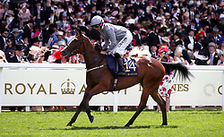 Red Balloons ridden by Jockey Daniel Tudhope goes to post for the Queen Mary Stakes