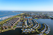 Nederland, Flevoland, Lelystad, 24-10-2013; eengezinswoningen en stadsvilla's in Lelystad-Haven, aan 't Bovenwater. Jachthaven Lelystad-Haven.<br /> Family houses and town villas in Lelystad-Haven.<br /> luchtfoto (toeslag op standaard tarieven);<br /> aerial photo (additional fee required);<br /> copyright foto/photo Siebe Swart.