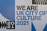 Signage for Coventrys status as UK City of Culture 2021 on 23rd June 2021 in Coventry, United Kingdom. The UK City of Culture is a designation given to a city in the United Kingdom for a period of one year. The aim of the initiative, which is administered by the Department for Digital, Culture, Media and Sport. Coventry is a city which is under a large scale and current regeneration.