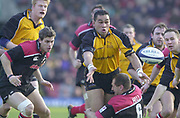 Watford, Hertfordshire, 08.12.2001, Zurich Premiership Rugby,  Newcastle Falcons', Captain Pat Lam, moves the ball to the half backs, during the, Saracens vs Newcastle Falcons, match played at, Vicarage Road, <br /> [Mandatory Credit: Peter Spurrier/Intersport images]