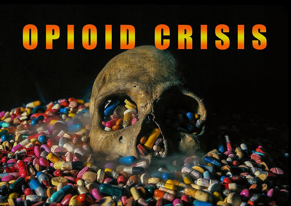 Opioid Crisis Pills Skull