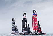 Image licensed to Lloyd Images. Free for editorial use. <br /> Pictures of Official Practice Day 24.07.15 - Land Rover BAR Racing Team skippered by Sir Ben Ainslie (GBR)  Oracle Team USA skippered by Jimmy Spithill & Emirates Team New Zealand skippered by Glenn Ashby <br /> Credit: Lloyd Images
