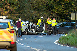 © Licensed to London News Pictures. 23/10/2020. Amersham, UK. Emergency service personnel survey the two vehicles involved in the collision in Homer Green. At approximately 15:22BST on Friday 23/10/2020 there was a road traffic collision on the A404 in Holmer Green, close to the junction with Sheepcote Dell Lane, between a blue Vauxhall Corsa and a white Volvo V40. Sadly the driver of the Vauxhall Corsa, a man in his fifties from Buckinghamshire, sadly passed away on Monday 26/10/2020. The driver of the white Volvo, a woman in her forties, suffered a serious injury, she remains in hospital in a stable condition. Her injuries are not believed to be life-threatening. Prior to this collision it is believed that the driver of the Vauxhall Corsa may have been involved in some sort of altercation with another driver of a Silver Ford Focus. Photo credit: Peter Manning/LNP