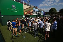 6 July 2017 -  Wimbledon Tennis (Day 4) - Fans queue for a court - Photo: Marc Atkins / Offside.
