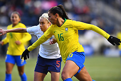 February 27, 2019 - Chester, PA, U.S. - CHESTER, PA - FEBRUARY 27: Brazil Forward Beatriz (16) fights for position in the box with England Defender Steph Houghton (5) in the second half during the She Believes Cup game between Brazil and England on February 27, 2019 at Talen Energy Stadium in Chester, PA. (Photo by Kyle Ross/Icon Sportswire) (Credit Image: © Kyle Ross/Icon SMI via ZUMA Press)