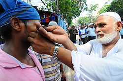 June 2, 2017 - Kolkata, India - Indian Muslims before offer the first congregationl Friday prayers of the holy month of Ramadan at Kolkata Lenin Sarani Road in Kolkata on June 02, 2017. Islam's holy month of Ramadan is calculated on the sighting of the new moon and Muslims all over the world are supposed to fast from dawn to dusk during the month. (Credit Image: © Debajyoti Chakraborty/NurPhoto via ZUMA Press)