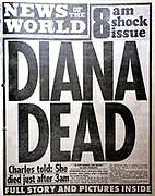 The 'News of the World' Newspaper 10th July 2011. The commemorative final edition of the newspaper carries a re-print of the Issue marking the death of Princess Diana (former wife of Britain's Prince Charles), in August 19997