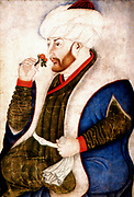 Suleiman I, (1494  – 1566) longest-reigning Sultan of the Ottoman Empire, from 1520 to his death in 1566.Suleiman the magnificent marching with army in Nakhichevan, summer 1554. Date 1561(1561) painted in 1480 painting by the Ottoman miniaturist Sinan Bey