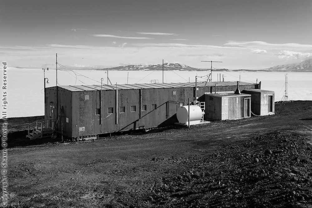 Cos-Ray building with Ross Ice shelf and Black Island in background