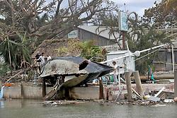 September 11, 2017 - Miami, Florida, U.S. - A sailboat crashed and smashed at the Dinner Key Marina. (Credit Image: © Mike Stocker/TNS via ZUMA Wire)
