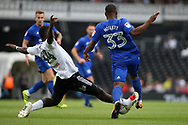 Junior Hoilett of Cardiff City (R) is fouled by Ibrahima Cisse of Fulham (L). EFL Skybet football league championship match, Fulham v Cardiff city at Craven Cottage in London on Saturday 9th September 2017.<br /> pic by Steffan Bowen, Andrew Orchard sports photography.