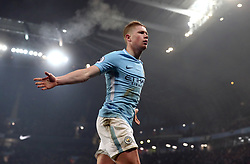 Manchester City's Kevin De Bruyne celebrates scoring his side's second goal of the game during the Premier League match at the Etihad Stadium, Manchester.