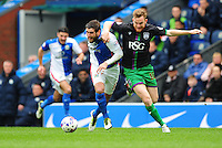 Blackburn Rovers' Danny Graham vies for possession with Bristol City's Alex Pearce<br /> <br /> Photographer Chris Vaughan/CameraSport<br /> <br /> Football - The Football League Sky Bet Championship - Blackburn Rovers v Bristol City - Saturday 23rd April 2016 - Ewood Park - Blackburn <br /> <br /> © CameraSport - 43 Linden Ave. Countesthorpe. Leicester. England. LE8 5PG - Tel: +44 (0) 116 277 4147 - admin@camerasport.com - www.camerasport.com