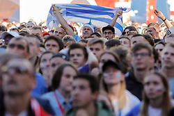 June 25, 2018 - Saint Petersburg, Russia - Uruguay supporter during the FIFA World Cup 2018 match between Russia and Uruguay on June 25, 2018 at Fan Fest zone in Saint Petersburg, Russia. (Credit Image: © Mike Kireev/NurPhoto via ZUMA Press)