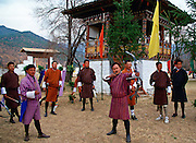 Archery contest with high-technology bows and arrows.  Archery is the national sport in Bhutan