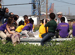 16 March 2008. New Orleans, Louisiana. Lower 9th ward.<br /> Movie stars Brad Pitt and Angelina Jolie talk with residents and former residents. They were in town with Former President Bill Clinton and 600 volunteers for the 'Make a Difference, Make a Commitment' clean up of the neighbourhood devastated by Hurricane Katrina. The massive clean up project was organised by Brad Pitt's Make it Right Foundation aided by the Clinton Global Initiative.<br /> Photo credit; Charlie Varley.