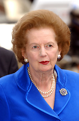 Former Prime Minister Margaret Thatcher during the launch of the 'Hong Kong in London Festival' at Claridges Hotel in central London.   *The three month long festival marking five years since the handover, will portray the many aspects of life and business of what has become known as the 'Golden Key to China'.    30/04/03 : The 77-year-old was appearing at a major business conference at London's Royal Albert Hall just over a year after it was announced that the Iron Lady would never speak in public again. The event, themed Living Legends, will see Mrs Thatcher address more than 2,000 delegates, via a pre-recorded interview.