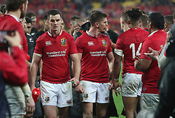 British and Irish Lions Owen Farrell exchanges words as he leaves the field after the second test of the 2017 British and Irish Lions tour at Westpac Stadium, Wellington.