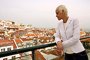 Fado singer Mariza portraied with one of the seven Lisbon hills on the background. Since she won the BBC World Music Award she has become the most famous Fado singer.