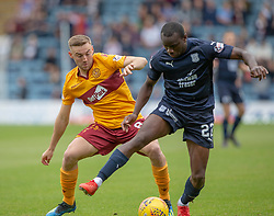Motherwell's Allan Campbell and Dundee's Kharl Madianga. half time : Dundee 0 v 0 Motherwell, SPFL Ladbrokes Premiership game played 1/9/2018 at Dundee's Kilmac stadium Dens Park