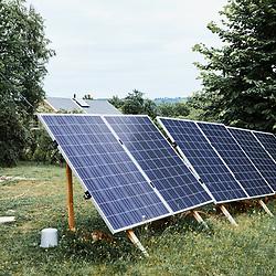 Solar panels in Marie Meunier's garden. Saint-Pierre-de-Frugie, France. July 12, 2019.