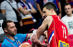 Injured Vladimir Lucic of Serbia during basketball match between National Teams of Italy and Serbia at Day 14 in Round of 16 of the FIBA EuroBasket 2017 at Sinan Erdem Dome in Istanbul, Turkey on September 13, 2017. Photo by Vid Ponikvar / Sportida