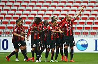 Fotball<br /> Frankrike<br /> Foto: Dppi/Digitalsport<br /> NORWAY ONLY<br /> <br /> Mathieu Bodmer of OGC NIce celebrates with his teammates after scoring his side's opening goal during the French championship L1 football match between Nice and Paris Saint Germain on April 18, 2015 at the Allianz Riviera stadium in Nice, France.