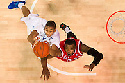 DALLAS, TX - JANUARY 21: Ben Moore #34 of the SMU Mustangs battles for a rebound against Wally Judge #33 of the Rutgers Scarlet Knights on January 21, 2014 at Moody Coliseum in Dallas, Texas.  (Photo by Cooper Neill/Getty Images) *** Local Caption *** Ben Moore; Wally Judge