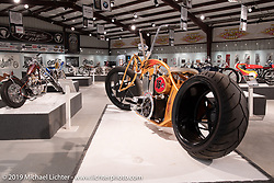 Jesse Rooke's RookeStar 01 S&S custom posthumously included in the What's the Skinny Exhibition (2019 iteration of the Motorcycles as Art annual series) at the Sturgis Buffalo Chip during the Sturgis Black Hills Motorcycle Rally. SD, USA. Friday, August 9, 2019. Photography ©2019 Michael Lichter.