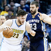 01 February 2016: Denver Nuggets center Jusuf Nurkic (23) drives past Memphis Grizzlies center Marc Gasol (33) during the Memphis Grizzlies 119-99 victory over the Denver Nuggets, at the Pepsi Center, Denver, Colorado, USA.