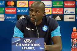 August 21, 2017 - Nice, France - Napoli's French defender Kalidou Koulibaly holds a press conference on August 21, 2017, at the Allianz Riviera stadium in Nice, southeastern France, on the eve of the UEFA Champions League play-off football match between Nice and Napoli. (Credit Image: © Paolo Manzo/NurPhoto via ZUMA Press)
