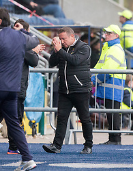 Inverness Caledonian Thistle's manager John Robertson after Jake Mulraney's shot hits the post. Falkirk 0 v 0 Inverness Caledonian Thistle, Scottish Championship game played 14/10/2017 at The Falkirk Stadium.