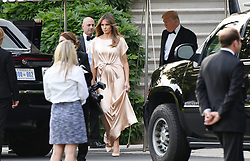 June 4, 2017 - Washington, District of Columbia, United States of America - First Lady Melania Trump  and United States President Donald J. Trump (R) exit the residence to attend a reception at the Fordís Theatre , on June 4, 2017 in Washington, DC. .Credit: Olivier Douliery / Pool via CNP (Credit Image: © Olivier Douliery/CNP via ZUMA Wire)
