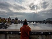 View at Charles Bridge in Prague.
