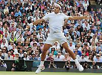 Tennis - 2017 Wimbledon Championships - Week Two, Wednesday [Day Nine]<br /> <br /> Men's Singles, Quarter Final match<br /> <br /> Roger Federer (SUI) vs. Milos Roanic (CAN)<br /> <br /> Roger Federer on  Centre Court <br /> <br /> COLORSPORT/ANDREW COWIE