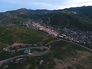 SHOT 7/1/17 9:19:40 PM - Drone photos of Park City, Utah. Park City lies east of Salt Lake City in the western state of Utah. Framed by the craggy Wasatch Range, it's bordered by the Deer Valley Resort and the huge Park City Mountain Resort, both known for their ski slopes. Utah Olympic Park, to the north, hosted the 2002 Winter Olympics and is now predominantly a training facility. In town, Main Street is lined with buildings built during a 19th-century silver mining boom. (Photo by Marc Piscotty / © 2017)