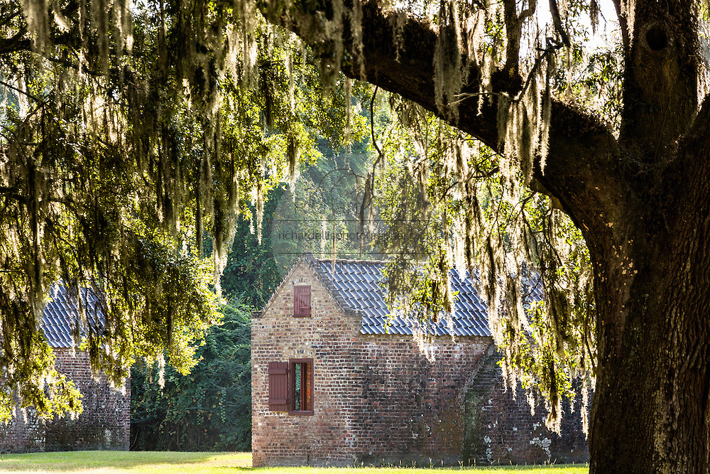 A slave cabin under spanish moss at Boone Hall Plantation in Mt Pleasant, South Carolina.