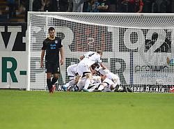 03.10.2014, Scholz Arena, Aalen, GER, 2. FBL, VfR Aalen vs TSV 1860 Muenchen, 9. Runde, im Bild Jubel nach dem 1:0 von Fabian Weiss (VfR Aalen) // during the 2nd German Bundesliga 9th round match between VfR Aalen and TSV 1860 Muenchen at the Scholz Arena in Aalen, Germany on 2014/10/03. EXPA Pictures © 2014, PhotoCredit: EXPA/ Eibner-Pressefoto/ Langer<br /> <br /> *****ATTENTION - OUT of GER*****