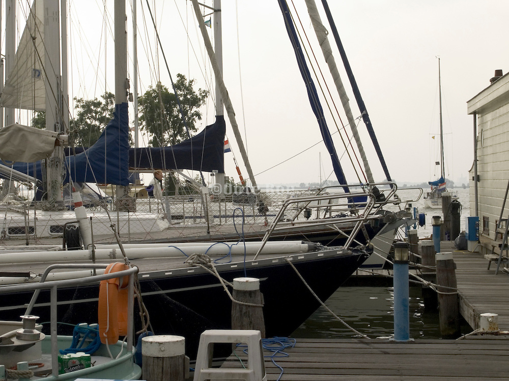 recreational sailing boats docked in harbor Holland