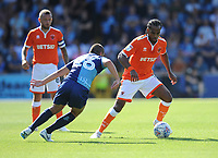 Blackpool's Nathan Delfouneso under pressure from Wycombe Wanderers' Michael Harriman<br /> <br /> Photographer Kevin Barnes/CameraSport<br /> <br /> The EFL Sky Bet League One - Wycombe Wanderers v Blackpool - Saturday 4th August 2018 - Adams Park - Wycombe<br /> <br /> World Copyright © 2018 CameraSport. All rights reserved. 43 Linden Ave. Countesthorpe. Leicester. England. LE8 5PG - Tel: +44 (0) 116 277 4147 - admin@camerasport.com - www.camerasport.com