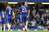 John Terry, the Chelsea captain congratulates Michy Batshuayi of Chelsea after full time. EFL Cup 2nd round match, Chelsea v Bristol Rovers at Stamford Bridge in London on Tuesday 23rd August 2016.<br /> pic by John Patrick Fletcher, Andrew Orchard sports photography.
