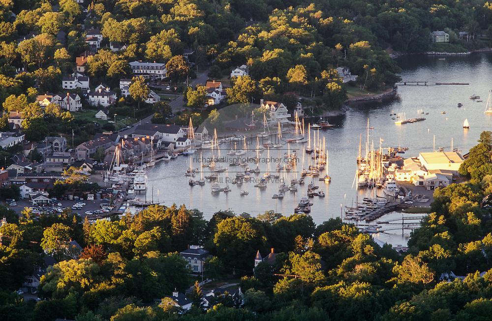Aerial of Rockport harbor mid-coast of Maine.