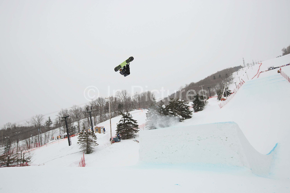 Rowan Coultas during the FIS Jamboree snowboard Slopestyle qualifiers on 11th February 2017 in Stoneham Mountain, Canada. The Canadian Jamboree is part of the ski and snowboard FIS World Cup circuit held in Quebec City and Stoneham Mountain.