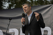 The white middle-classes gathered in Parliament Square to protest against plans for a third runway at Heathrow airport - blighting, they say, thousands of homes in London's aviation hub's flight paths - especially to the west of the capital. Central to the demonstration were both London mayoral candidates: the Conservative Zac Goldsmith (pictured) and Labour's Sadique Khan.