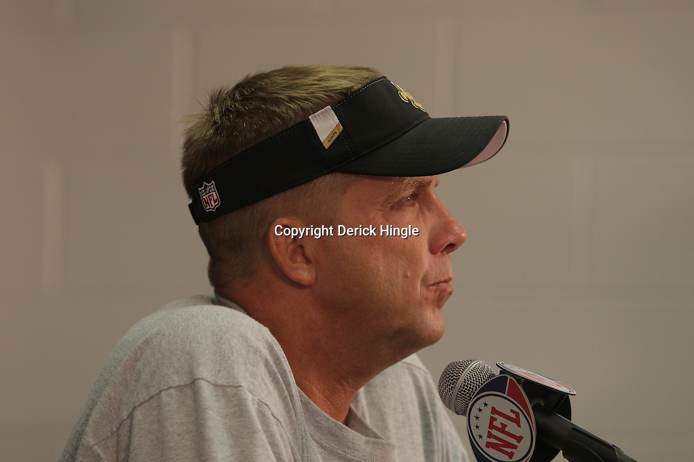30 July 2009: New Orleans Saints head coach Sean Payton during a press conference to signal the start of New Orleans Saints training camp that will held at the team's practice facility in Metairie, Louisiana.