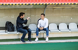 Jaka Lopatic, journalist of Siol Sportal with Zlatko Dedic, Slovenian football player of FC Wacker Innsbruck, on September 27, 2018 in Stadion Tivoli Neu, Innsbruck, Austria.  Photo by Vid Ponikvar / Sportida