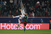 MOSCOW, RUSSIA - OCTOBER 27: Leon Goretzka of FC Bayern Muenchen is contested by Grzegorz Krychowiak of Lokomotiv Moskva during the UEFA Champions League Group A stage match between Lokomotiv Moskva and FC Bayern Muenchen at RZD Arena on October 27, 2020 in Moscow, Russia. (Photo by MB Media)