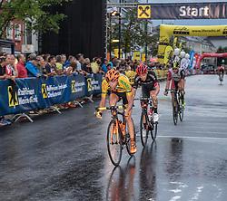 27.07.2016, Wels, AUT, Rad Strassen Kriterium Elite Herren, 2016, Wels, Oberösterreich im Bild Jan Hirt (CZE, CCC Sprandi Polkowice) und Patrick Konrad, AUT (Bora - Argon 18) // during cycling road criterium, Wels, upperaustria at 2016/07/27. EXPA Pictures © 2016, PhotoCredit: EXPA/ R. Eisenbauer