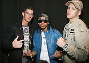 l to r: Donnie Klang, Kissk, and Jose Guzman at the South Pole Fashion show during ' The Stay in School Concert ' facilated by Entertainers for Education held at The Manhattan Center on October 28, 2008 in New York City